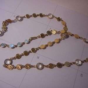 "Jewelry - Faux Coin Crystal Gold Tone Chain Necklace 28"" L"